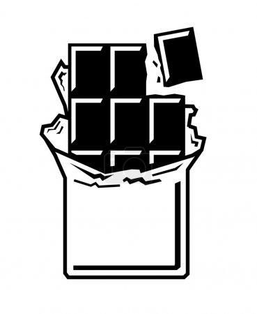 Illustration pour Icône de barre de chocolat noir vectoriel sur fond blanc - image libre de droit