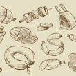Vector hand drawn meat and sausage elements set...