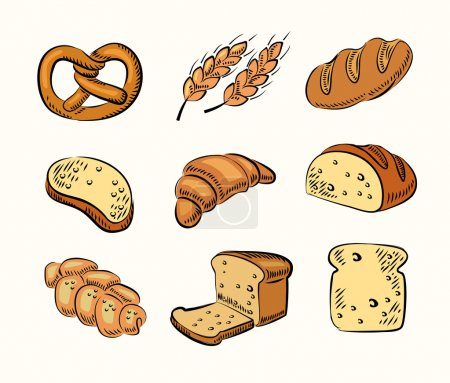 Illustration pour Icônes de pain dessinées à la main vectorielles sur beige - image libre de droit