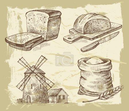 Illustration pour Vecteur pain dessiné à la main sur fond de peinture - image libre de droit