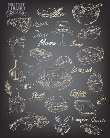 Illustration pour Vecteur dessiné à la main nourriture et repas sur fond noir - image libre de droit