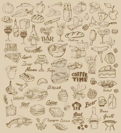 Illustration pour Nourriture dessinée à la main et repas sur beige - image libre de droit