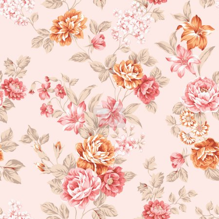 Photo for Rose bouquet design Seamless pattern with White background - Royalty Free Image