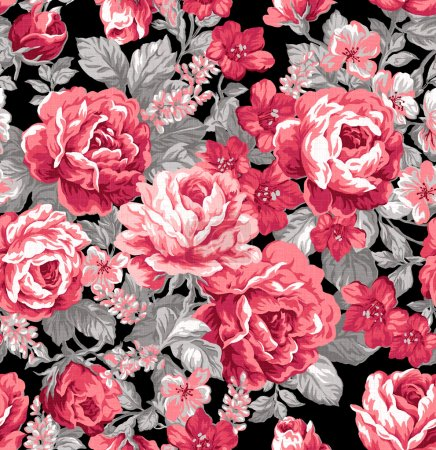 Photo for Delicate curl flowers pattern seamless background - For easy making seamless pattern use it for filling any contours - Royalty Free Image