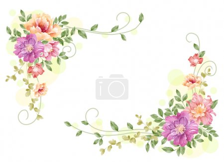 Photo for Watercolor floral illustration collection.  flowers arranged un a shape of the wreath perfect - Royalty Free Image