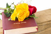 Bible, Wood and Flowers