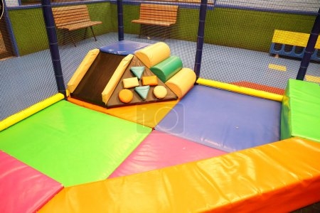 Photo for Abstract photograph featuring childrens play equipment at a fast food restaurant - Royalty Free Image
