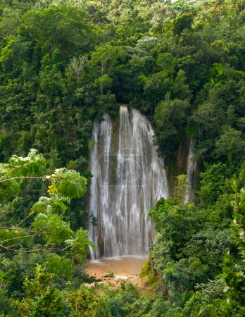 Famous waterfall in forest after tropical rain. Samana.