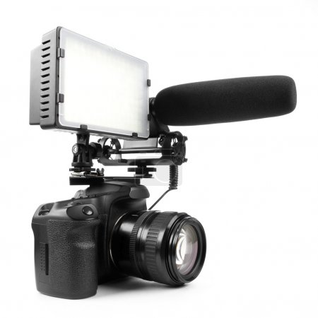 DSLR video camera isolated on white background wit...