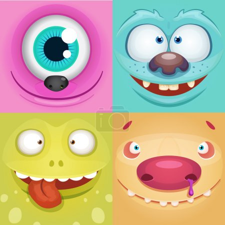 Illustration for Set of Cartoon Monsters - Royalty Free Image