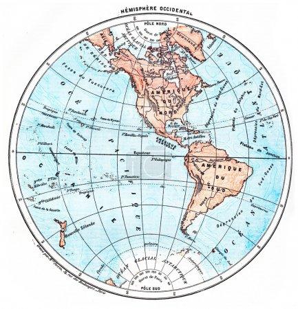 Earth, Western Hemisphere, vintage engraving.