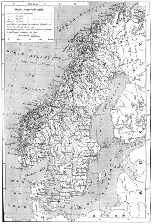Carte de Scandinavie - Suède, Norvège et Danemark gravure vintage