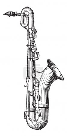Illustration for Old engraved illustration of Saxophone isolated on a white background. Dictionary of words and things - Larive and Fleury ? 1895 - Royalty Free Image