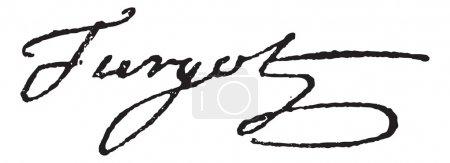 Illustration pour Signature d'Anne-Robert-Jacques Turgot ou Baron de Laune ou Turgot (1727-1781), illustration gravée vintage. Dictionnaire des mots et des choses - Larive et Fleury  - - image libre de droit