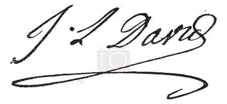 Signature of Jacques-Louis David (1748-1825), vintage engraving.
