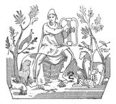 Orpheus attracting wild animals to the sound of his lyre vintag