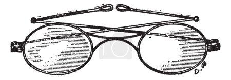 Illustration pour Lunettes, pont k, illustration gravée vintage. Dictionnaire des mots et des choses - Larive et Fleury - 1895 . - image libre de droit