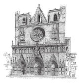 Lyon Cathedral in LyonFrance vintage engraving