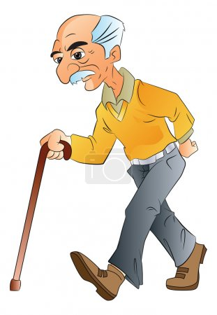 Illustration for Old Man Walking with a Cane, vector illustration - Royalty Free Image