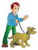 Man Walking a Dog illustration