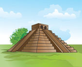 Mayan pyramid amidst lush greenery and a blue sky vector illustration