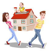 Family Carrying a House illustration