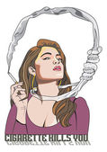 Cigarette Kills You woman smoking illustration