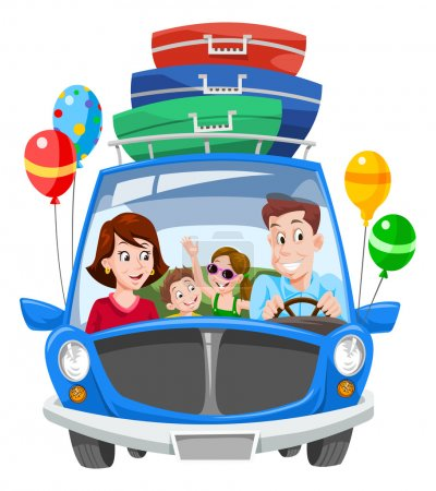 Illustration for Family Vacation, Car with Luggage and Balloons, vector illustration - Royalty Free Image