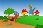 Ant and Grasshopper illustration