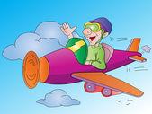 Muž letí letadlo, ilustrace