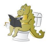 Dinosaur Using a Toilet illustration