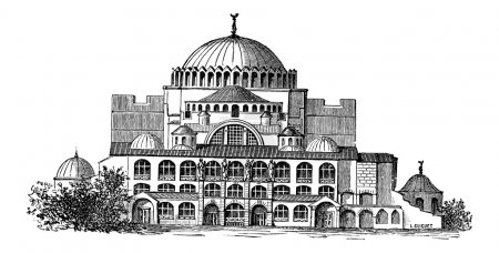 Hagia Sophia in Istanbul, Turkey, vintage engraving