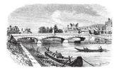 Clamecy Bridge in Nievre France vintage engraving
