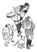 The Acrobats - Japanese Caricature vintage engraving