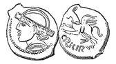 Starověké bronzová mince, vintage gravírování