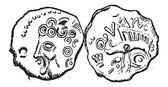Starověké keltské mince tullum leucorum, vintage gravírování
