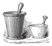 Mortar and Pestle shown in two sizes vintage engraved illustration Dictionary of Words and Things - Larive and Fleury - 1895
