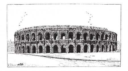 Arena of Nimes, in Nimes, Languedoc-Roussillon, France, vintage