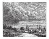 Cloud vintage engraving