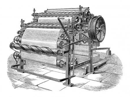 maszyna papiernicza z dwóch butli, Grawerowanie vintage