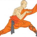 Shaolin warrior monk vector illustration...