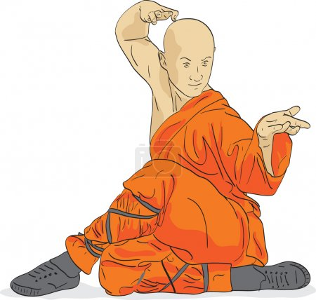 Shaolin warrior monk vector illustration