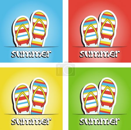 Set of pretty summer background with slippers
