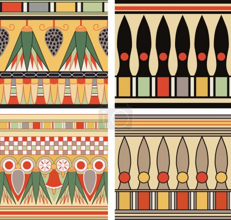 Set of ancient egyptian ornament, seamless pattern