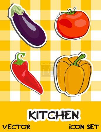 Icon set of vegetables illustration