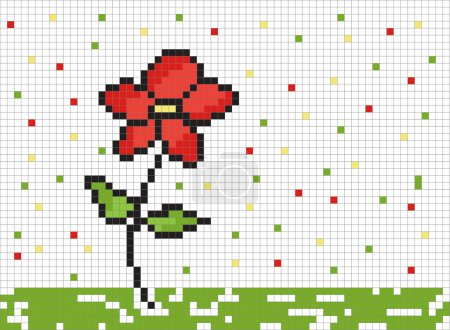 Cute pixel graphic with flower