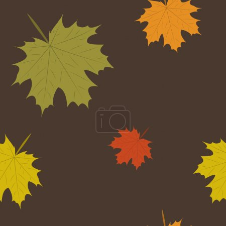 summer and autumn background with leaves, seamless pattern