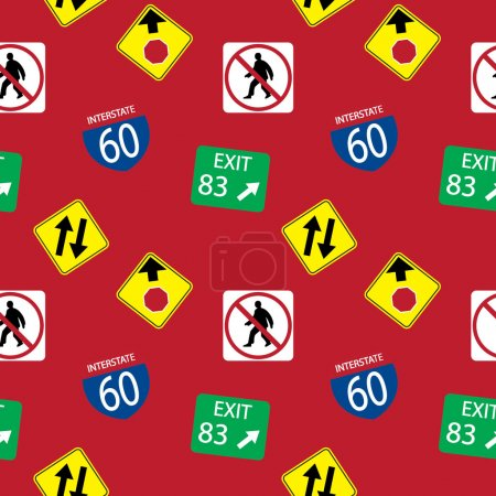 background with road signs, seamless pattern