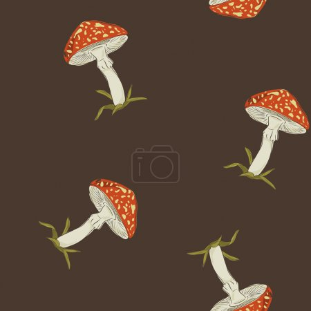 summer background with fly agaric, seamless pattern