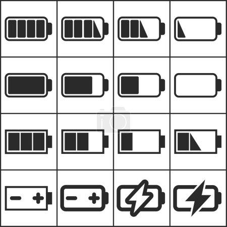 Illustration pour Jeu d'icônes web simples plates (indicateurs de niveau de charge, piles, accumulateurs), illustration vectorielle - image libre de droit